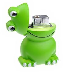 Frog Shape Windproof Refillable Cigarette Lighter Butane Lighter (Green)