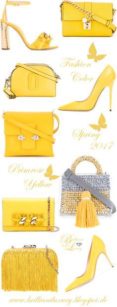 Brilliant Luxury by Emmy DE ♦ Fashion Color Spring 2017 ~ primrose yellow Yellow Fashion, Fashion Colours, Amarillo Color, Denim Fashion, Womens Fashion, Fashion Bags, Yellow Jewelry, Bags Online Shopping, Christmas Bags
