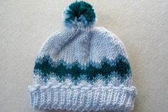 Light Blue Hat, Hand Knit, Band of Teal and Aqua with Pom Pom, Newborn | GieseDeseiGns - Knitting on ArtFire