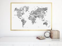 Set of two 36x24 framed world map prints grayscale world map 36x24 map black and white watercolor world map printable grayscale world map with gumiabroncs Choice Image