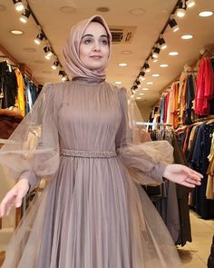 Pin Image by Chantik manja Hijab Prom Dress, Hijab Evening Dress, Hijab Wedding Dresses, Muslim Dress, Evening Dresses, Dress Outfits, Fashion Dresses, Dress Wedding, Moslem