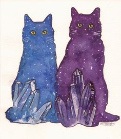 Galaxy Cats Original Painting by MeganHumphriesArt on Etsy