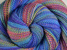 Handspun Yarn, Fine Fingering weight - KALEIDOSCOPE EYES - Ultrafine 15.5μ Merino wool, 1010 yds, gift for knitter, weft yarn by BlackSheepGoods on Etsy