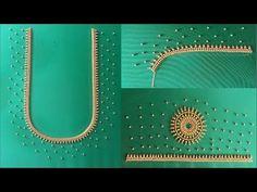 Aari work design with aari needle maggam work blouse design green colour blouse - YouTube Cutwork Blouse Designs, Simple Blouse Designs, Peacock Blouse Designs, Handmade Embroidery Designs, Embroidery Neck Designs, Mirror Work Blouse Design, Blouse Designs Catalogue, Hand Work Design, Aari Work Blouse