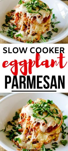 If you love recipes where the effort is disproportionate to the delicious results, you don't want to miss this Slow Cooker Eggplant Parmesan. It will have everyone thinking you spent all day in the kitchen. Cheesy and delicious with a fraction of the effort of traditional Eggplant Parm. Perfect for easy entertaining and always a crowd-pleaser. #slowcooker #crockpot #eggplantparm