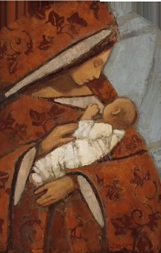 Kirk Richards - Mother and Child (Red Floral) Divine Mother, Blessed Mother Mary, Lds Art, Bible Art, Catholic Art, Religious Art, Queen Of Heaven, Mama Mary, Goddess Art