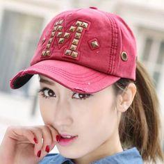 M letter studded baseball cap for women spring ripped hip hop caps