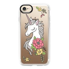 Dreamy Unicorn & Vintage Boho Flowers - iPhone 7 Case And Cover ($40) ❤ liked on Polyvore featuring accessories, tech accessories, iphone case, apple iphone case, iphone cases, unicorn iphone case, iphone cover case and clear iphone case