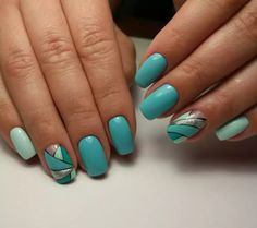 Blue Nails, Summer Nails, Acrylic Nails, Manicure, Nail Designs, Nail Art, Turquoise, Spring Green, Art Ideas