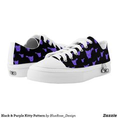 Shop Black & Purple Kitty Pattern Low-Top Sneakers created by BlueRose_Design. Kids Sneakers, High Top Sneakers, Hiding Cat Litter Box, Cat House Diy, Custom Sneakers, Sports Shoes, Kitty, Pairs, Unisex