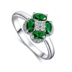 Fashion Flower Green Emerald White CZ Diamond Ring