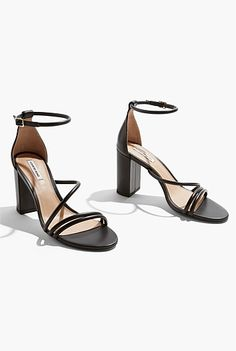 Black Leather, Country Roads, Sandals, Heels, Products, Fashion, Heel, Moda, Shoes Sandals