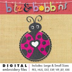 Digital Embroidery Design  INSTANT DOWNLOAD DIGITAL FILE: Includes PDF color sheet and 2 convenient sizes:  Larger Size: 4.03 in x 5.73 in  102.5