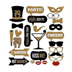 Amazon.com: Happy New Year Eve Party Photo Booth Props - Gold Glitter Party Favor Decorations DIY Kit - 26 pcs: Toys & Games