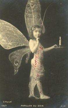 The Fairy of the Night, Postcard - - Papillon du Soir - Photo by Henri Manuel Vintage Pictures, Old Pictures, Vintage Images, Vintage Cards, Vintage Postcards, Fairy Dust, Fairy Tales, Nature Spirits, Vintage Fairies