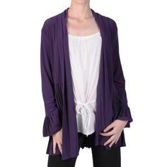 Brinley Co Womens Pleated Trim Long Sleeve Jacket