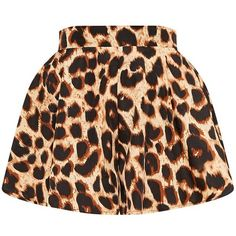Lolita Brown Leopard Print Floaty Shorts ($19) ❤ liked on Polyvore featuring shorts, brown shorts, leopard shorts, lightweight shorts and leopard print shorts