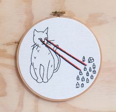Cat Attacks Hand Embroidered  Hoop Art, Wall Art by emptydotroom on Etsy https://www.etsy.com/listing/245128237/cat-attacks-hand-embroidered-hoop-art