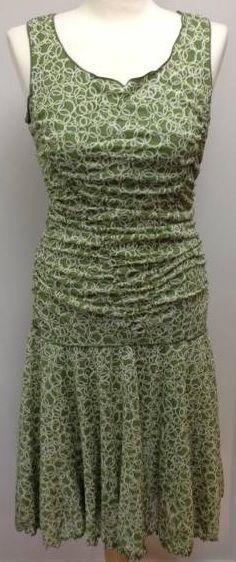 Max Studio MERMAID dress size MEDIUM green shirred ruched drop waist full skirt #MaxStudio #Sundress #Casual