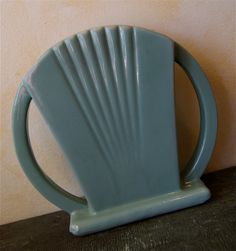Art Deco Jade / Turquoise Two Handled Pottery Vase via Etsy