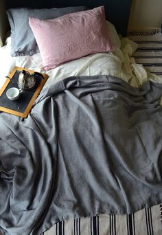 Limited edition: Grey Linen Bed Cover. Coverlet. Linen Summer Blanket. King Size. Pre-order only.