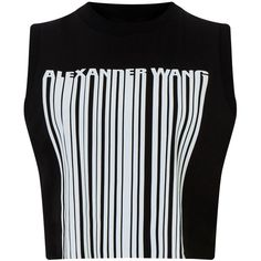 Alexander Wang Onyx Cropped Logo Barcode Tank ($220) ❤ liked on Polyvore featuring tops, shirts, crop tops, tanks, sleeveless jersey, crop top, sleeveless shirts, crop shirts and jersey tank top