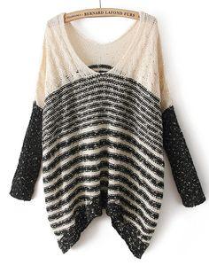 Beige V Neck Long Sleeve Metallic Yoke Sweater