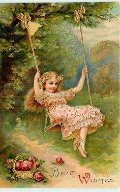 Vintage Card with girl on a swing. Vintage Abbildungen, Vintage Easter, Vintage Labels, Vintage Ephemera, Vintage Prints, Vintage Birthday Cards, Vintage Greeting Cards, Vintage Valentines, Victorian Valentines