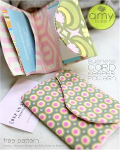 Free Business Card Sleeve Sewing Pattern by Amy Butler - link to a link that opens a PDF file with tutorial/pattern