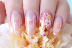 Marble pressed flower gel nail - Feast of cosmetics - our lovable maiden iron