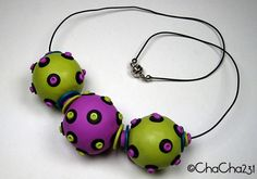 Big Funky Balls Necklace by ChaCha231, polymer clay.