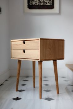 Mid Century Modern Oak Nightstand with Double Drawers