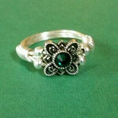 Free Stuff: Silver Plated Wire Ring with Silver Colored Bead with Green Crystal Size 5.5 - Listia.com Auctions for Free Stuff