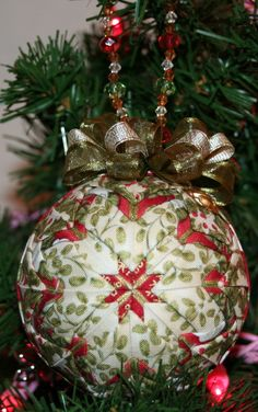 Quilted Ornaments Quilt Ball Ornaments Roses Holly by unclebuyme, $22.00