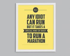 26.2 It Takes a Special Kind of Idiot to Run a Marathon Retro Print - Typographic Inspirational Running Quote - 8x10