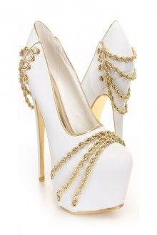 White Gold Chain Decor Platform Pumps
