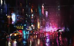 Oil Painting New York City in Night Wallpaper