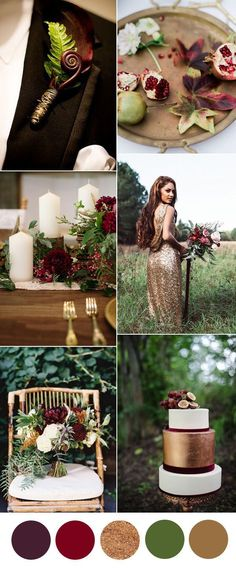 Wonderful Weddings: gorgeous gold and burgundy woodland wedding colors...