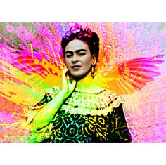 Frida Kahlo Print Rainbow Mixed Media Collage Modern Home Wall Decor Photomontage Black White Blue Red Yellow Green Pink Purple Up to Poster...