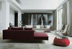 salon associer couleur idée gris rouge canapé bordeaux moderne pouf rouge