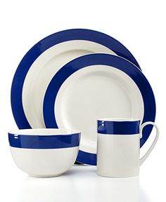 Martha Stewart Collection Classic Band Cobalt 4-Piece Place Setting - Casual Dinnerware - Dining & Entertaining - Macy's