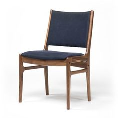 Bina Side Chair - Dark Blue Canvas & Walnut - Ironhorse Home Furnishings Farmhouse Chairs, Wooden Dining Chairs, Contemporary Dining Chairs, Upholstered Dining Chairs, Dining Room Chairs, Side Chairs, Dining Nook, Office Chairs, Second Hand Chairs