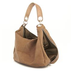 Brown Leather Slouchy Side Zip Bag