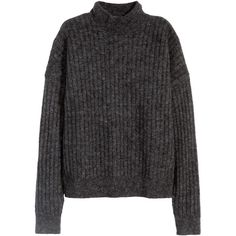 H&M Jumper in a mohair blend (3.040 RUB) ❤ liked on Polyvore featuring tops, sweaters, jumpers, shirts, dark grey marl, ribbed shirt, h&m sweaters, turtleneck sweater, turtleneck shirt and ribbed long sleeve shirt