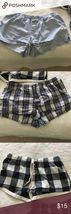 Pajama shorts Two pairs of small aerie PJ shorts (blue and white polka dots & blue plaid); one pair of medium Xhilaration black and cream checkered PJ shorts aerie Intimates & Sleepwear Pajamas