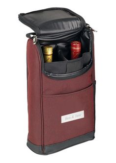 """Foam Padded Double Wine Case Size: 13.5""""L x 8""""H x 4.25""""D Protect your favorite wine bottles. Offer this elegant bag to your guest with their favorite wine bottles. What ever you decide, it will sure make an impression. Made of two tone 600D polyester. Foam padded to provide supreme protection. Accommodates 2 wine bottles. Elastic loop at top to hold a corkscrew. Soft grip handle. Open front and side pocket for small items."""