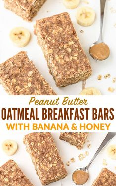 Recipes Snacks Bars Peanut Butter Banana Oatmeal Breakfast Bars Healthy, filling and delicious Oatmeal Breakfast Bars with peanut butter, banana, and honey. This breakfast bars recipe will keep you powered for hours. Healthy Bars, Good Healthy Recipes, Healthy Baking, Recipes With Bananas Healthy, Banana Recipes Easy, Oatmeal Bars Healthy, Healthy Snack Recipes, Healthy Filling Meals, Vegan Snacks On The Go