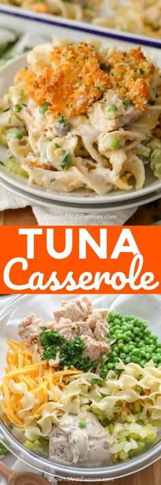 Easy Tuna Casserole {Classic Comfort Food} – Spend With Pennies Tuna casserole is a family staple that couldn't be easier for a weeknight dinner! Tuna Recipes, Seafood Recipes, New Recipes, Cooking Recipes, Favorite Recipes, Healthy Recipes, Recipies, Salmon Recipes, Copycat Recipes