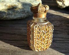 "Wonderful  Glass and Metal Crown Top Perfume Bottle with History, ""The Woman I Love"""