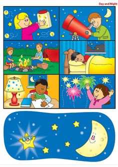 DIA Y NOCHE - Paula Godoy - Picasa Webalbums Special Education Activities, Toddler Learning Activities, Preschool Education, Work Activities, Educational Activities, Preschool Activities, Earth And Space, Weather For Kids, Classroom Schedule